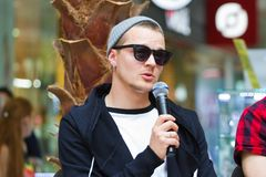 Zhenya Halych,乌克兰摇滚小组O的挂名负责人 Torvald在新闻招待会在文尼察,乌克兰, 10 06 2016年,社论照片 库存图片