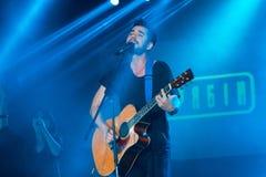 Zhenya Tolochnyi, piosenkarz wystrzał grupa Skryabin przy Andriy Kuzmenko uznania koncertem, Vinnytsia, Ukraina, 10 06 2016, reda Zdjęcie Royalty Free