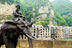 Zhenyuan är den forntida staden en berömd stad med en historia av över 2000 år royaltyfria foton