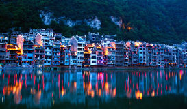 Zhenyuan Ancient Town in Guizhou Province, China. Zhenyuan Ancient Town on Wuyang river in Guizhou Province of China. It is under the administration of the Stock Photography