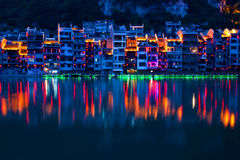 Zhenyuan Ancient Town on Wuyang river in Guizhou Province, China. It is under the administration of the Qiandongnan Miao and Dong Autonomous Prefecture Royalty Free Stock Photos
