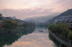 Zhenyuan wschodu słońca stara grodzka scena zdjęcie royalty free