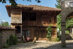 Zheravna,保加利亚建筑储备与19世纪房子的 库存照片