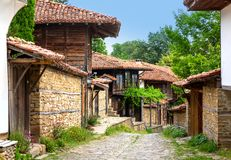 Zheravna, Bulgaria - architectural reserve. Of rustic houses and narrow cobbled streets from the Bulgarian national revival period royalty free stock photography