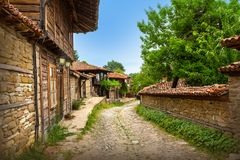 Zheravna, Bulgaria - architectural reserve. Of rustic houses and narrow cobbled streets from the Bulgarian national revival period stock image