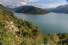 Zhinvali水库,乔治亚,高加索 库存图片