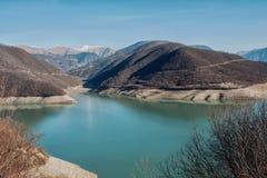 Zhinvali水库,乔治亚 图库摄影