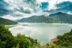 Zhinvali Reservoir In Georgia, On River Aragvi. Spring Mountain Landscape. Stock Images