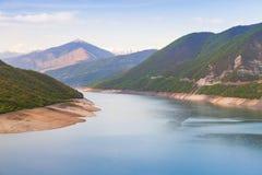 Zhinvali reservoir. Georgian landscape. With mountain lake in Caucasus Mountains near Ananuri village stock photography