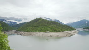 Zhinvali water reservoir on river Aragvi, Georgia stock footage