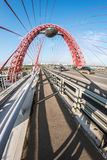 Zhivopisny桥梁是缆绳被停留的桥梁 免版税库存照片