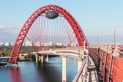 Zhivopisny桥梁是跨过莫斯科劈裂的缆绳被停留的桥梁 免版税库存照片