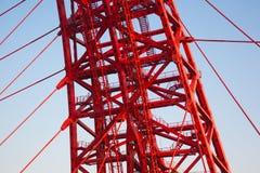 Zhivopisny桥梁 电缆坚持的桥梁 特写镜头 库存照片