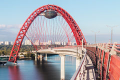 Zhivopisny Bridge is cable-stayed bridge that spans Moscow Rive Royalty Free Stock Photos