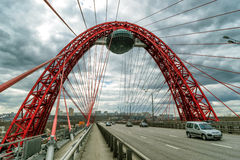 Zhivopisny bridge over the Moskva river, Moscow Royalty Free Stock Images