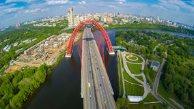Zhivopisny suspension bridge aerial landscape Stock Photos
