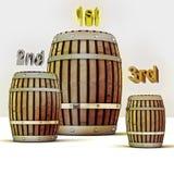 Zählen Sie Konkurrenz und drei Fässer des alten Weins Stockbild
