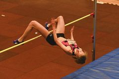 Zhodzik Mariya Belarus perfoms high jump during 19th Championship of Indoor High Jumpn on Janury 27, 2018 in Hustopece. HUSTOPECE, THE CZECH REPUBLIC - JANUARY Royalty Free Stock Photos