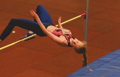 Zhodzik Mariya Belarus perfoms high jump during 19th Championship of Indoor High Jumpn on Janury 27, 2018 in Hustopece. HUSTOPECE, THE CZECH REPUBLIC - JANUARY Stock Photo