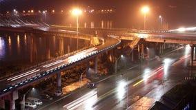 Zhongba bridge at night stock video