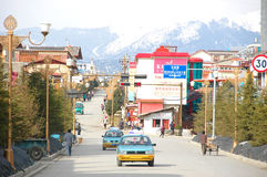 ZHONGDIAN CHINY, MARZEC, - 20: Zhongdian miasto na Marzec 20, 2008 i Obraz Royalty Free