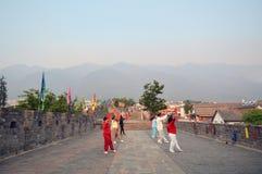Zhongguodama-Tanzen auf der Wand Stockbild