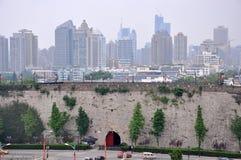 Zhonghua Gate and Nanjing City Skyline, China royalty free stock image