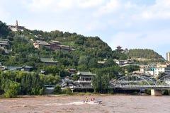 Zhongshan Bridge at Lanzhou, China stock images