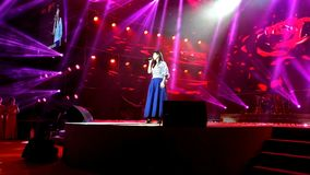 Zhongshan China September 2;2017:HongKong popstar Vivian Chow attending a live show.Vivian Chow is a beautiful and famous HK super. Zhongshan China September 2 stock video footage
