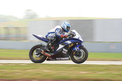 Zhou Hao Yun at Yamaha. Zhou Hao Yun was riding his Yamaha R6 in race 1 of ZIC superbike race.  He took the 1st winner in the qualifying session in the same Royalty Free Stock Photo