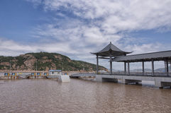 Zhoushan Boat Dock. An asian designed boat dock at Zhoushan China located in Zhejiang Province Stock Image