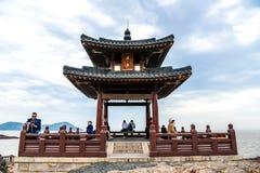 Zhoushan, Zhejiang, China - MAY 06, 2018 : : Putuoshan Mountain Is The Abode Of Goddess Of Mercy Guanyin Buddhist Statue And One Stock Photos