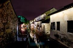 Zhouzhuang natten Arkivfoton