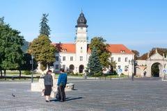 Zhovkva, Lviv region, Ukraine - August 13, 2016. Central Vicheva Veche Market square and City hall in summer morning. Stock Photo