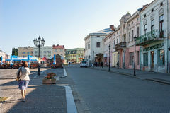 Zhovkva, Lviv region, Ukraine - August 13, 2016. Central Vicheva Veche Market square in summer morning. Zhovkva, Lviv region, Ukraine - August 13, 2016. Central royalty free stock images