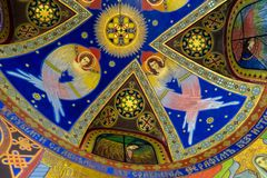 Frescos with angels on the ceiling of a chapel in the Ukrainian Greek Catholic Church of the Sacred Heart in Zhovkva, Ukraine. ZHOVKVA, UKRAINE - JANUAR 01, 2019 royalty free stock photos