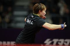 ZHU Yuling from China backhand. On the women`s singles final. Seamaster 2017 ITTF World tour platinum; German Open Magdebourg. 7-12 November 2017 Stock Images