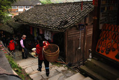 Zhuang village. Guangxi is ethnic minority areas, and they all live in the mountains, this is guilin Long Shengxian taiping village zhuang village of documentary Royalty Free Stock Images
