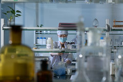 Medic in laboratory Stock Photo