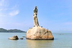 The Zhuhai Fisher Girl Statue is the landmark of Zhuhai city, China Stock Photography