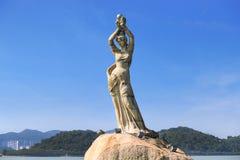 The Zhuhai Fisher Girl Statue is the landmark of Zhuhai city, China Royalty Free Stock Photography