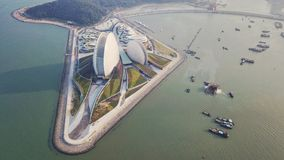 Zhuhai opera house. Aerial Zhuhai Opera House and the sea royalty free stock photo