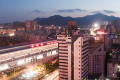 Zhuhai railway station at night Stock Image