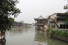 Zhujiajiao stad, söder av Yangtze River Arkivbild