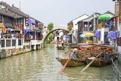 Zhujiajiao water town, China. Traditional water taxis in the center of town, Zhujiajiao, China stock photo