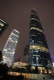 晚上场面在广州Zhujiang新的城镇 免版税图库摄影