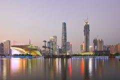 Zhujiang new town at dusk Stock Images