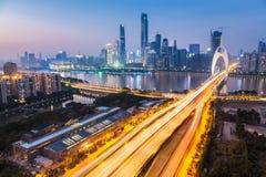 Zhujiang new town in nightfall Stock Photography