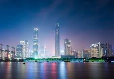 Zhujiang nowa grodzka linia horyzontu przy nocą Fotografia Stock