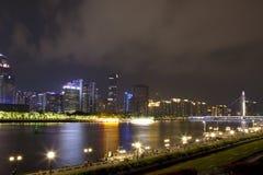 Zhujiang Nowy miasteczko widział od kantonu wierza Guangzhou Obraz Stock